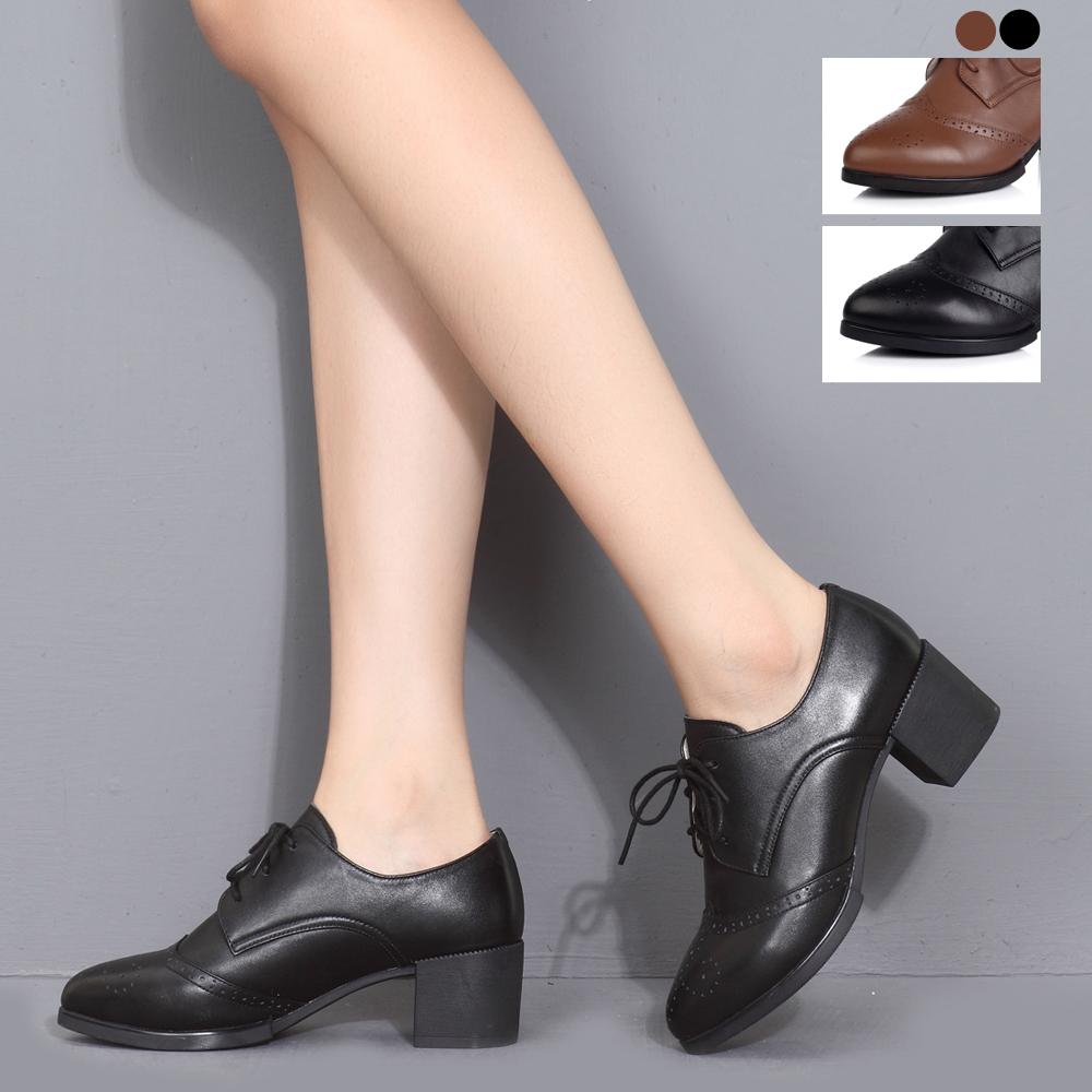 senda/森达黑色牛皮女皮鞋秋季47162cm4粗跟时尚女鞋