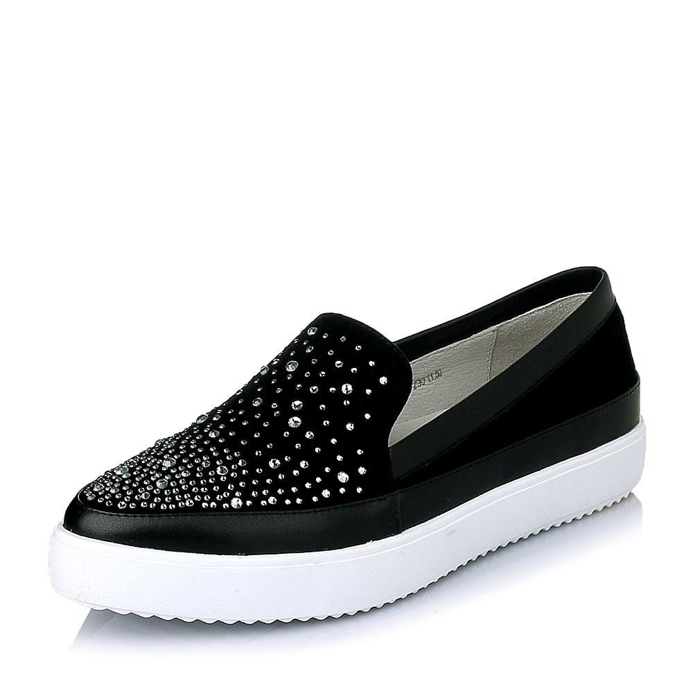 senda/森达春季黑色羊绒皮女休闲鞋67112am6